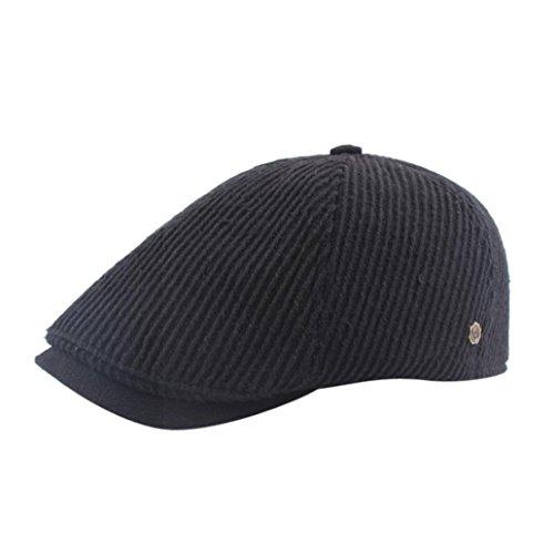 Bomber Classic Hut (Männer Wintermütze Vintage Casual Baumwolle Hut Vintage Warmer Baskenmütze Hut Hüte (Schwarz, H-374))