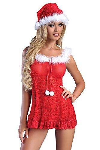 (Livia Corsetti Livco schickes 3-teiliges Dessous-Weihnachts-Set aus zartem Negligee, String und Weihnachtsmütze, rot/weiß, Gr. S/M)