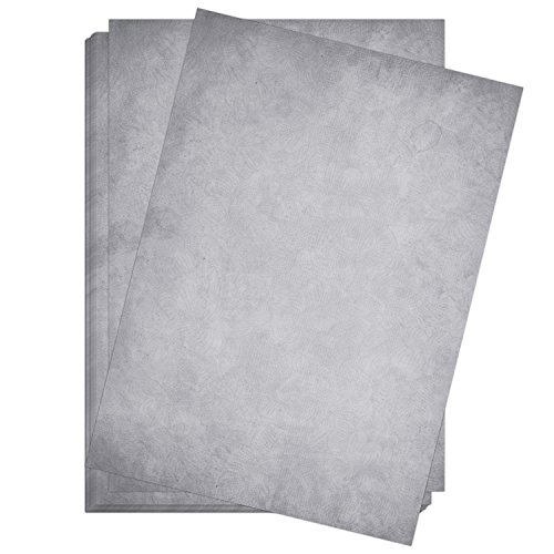 50 Blatt im Set: Briefpapier Altes Papier Vintage Grau - DIN A4 - beidseitig - edel