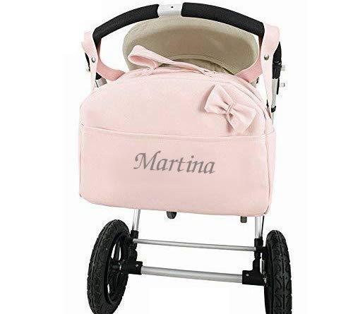 Bolso Polipiel Carrito Bebe Personalizado con nombre bordado ROSA - Nombre bebé...