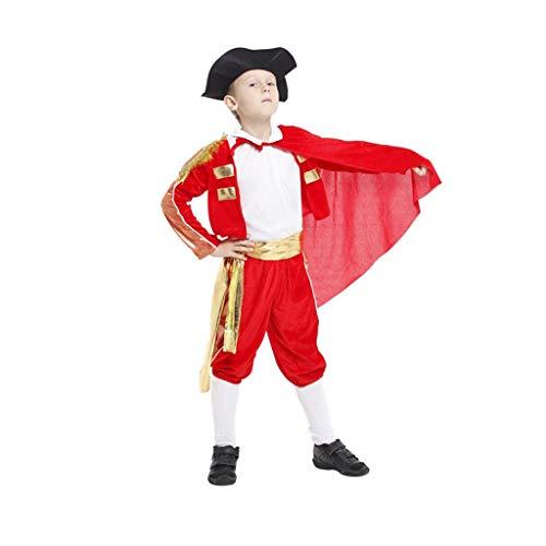 Jian E& Boy Dance Kostüm Halloween COS Maskerade Kostüm Kind Matador Kostüm Spanisches Stierkampf Kostüm (Farbe : Red, größe : L)
