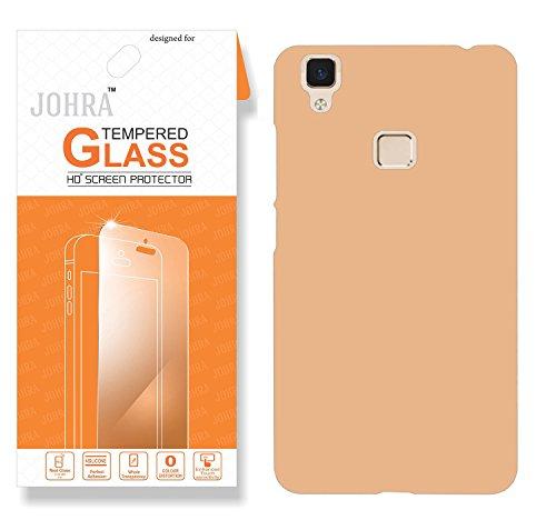 Vivo V3 Back Cover, Johra Real HD+ Tempered Glass Combo Hard Plastic Gold Golden Rubberised Back Cover for Vivo V3 Tempered Glass
