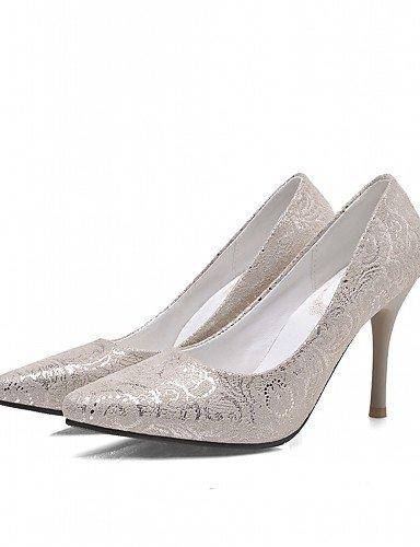 WSS 2016 Chaussures Femme-Bureau & Travail / Habillé / Décontracté-Bleu / Rouge / Beige-Talon Aiguille-Talons-Talons-Similicuir beige-us8 / eu39 / uk6 / cn39