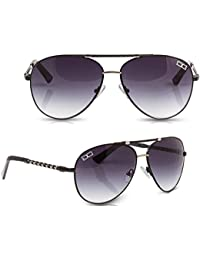 DG Eyewear ® Men's Womens Designer Sunglasses - Full UV400 Protection - Fashion Black Aviator Sunglasses - Model : DG Casablanca (New Season Collection) With FREE Pouch