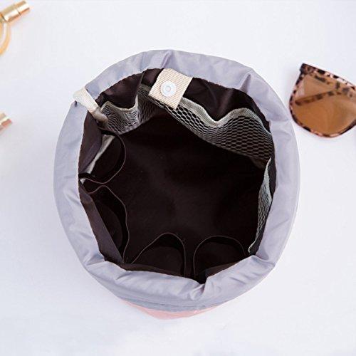 Sacchetto cosmetico - sacchetto di trucco impermeabile delle signore di corsa, sacchetto cosmetico della cinghia di grande capacità, sacchetto di immagazzinaggio cosmetico della toletta, tasca traspar Rosa
