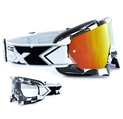TWO-X Race Crossbrille schwarz Glas verspiegelt iridium - MX Brille Motocross Enduro Spiegelglas...