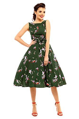 Look Glam 1940er Jahre inspiriert Retro-Tee-Kleid im Vogelmuster