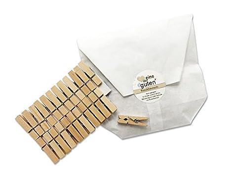 24 kleine robuste Mini-Wäscheklammern für Adventskalender, 35mm, stark aus Holz, Miniklammern, Miniwäscheklammern zum Basteln, für Deko, Fotos und Adventskalender, plastikfreie