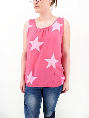 Stylisches modernes Top Shirt ärmellos mit Stern Print - Einheitsgröße - M L 38 40 42 (8215) pink rosa weiß