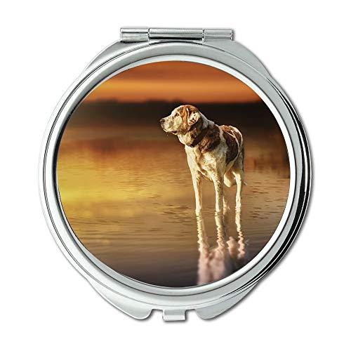 Yanteng Spiegel, Reise-Spiegel, Hund Sunset Waters Reflection Lake Zusammensetzung, Taschenspiegel, tragbarer Spiegel