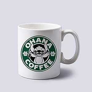 Ohana Coffee Lilo and Stitch Mug Cup Two Sides 11 Oz Ceramics