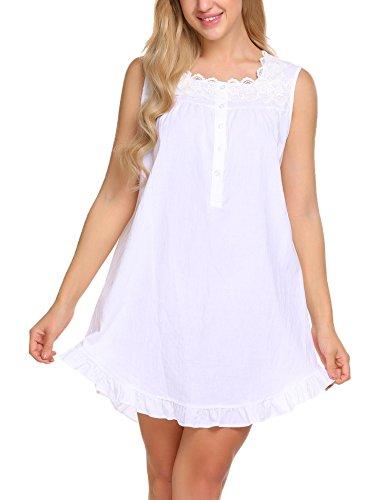 Ekouaer Damen Nachthemd lang Ärmellos Catton Lace Schlafanzug Fronttasten Gemütlich locker viktorianischer Stil Nachtwäsche, Z Weiß, EU L