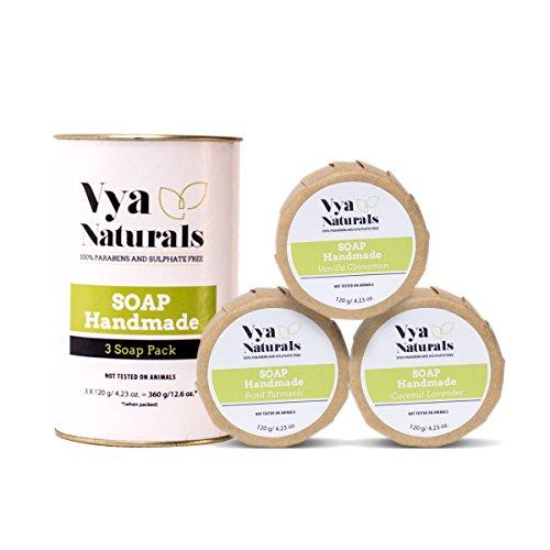 Vya Naturals Handmade Soap With Goodness of Natural Herbs like Turmeric & Basil- 100% Vegan - Set of 3 x 120g Soaps