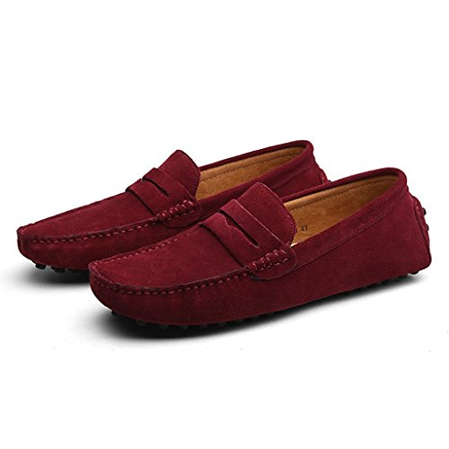 Oderola Herren Mokassin Wildleder Loafers Schuhe Bootsschuhe Flache Fahren Halbschuhe Weinrot