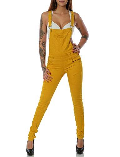 Damen Jeans Hose Latzjeans Latzhose Overall (Röhre weitere Farben) No 15542, Farbe:Currygelb, Größe:L / 40