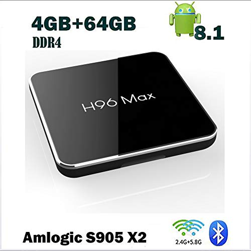 ZRM [4GB RAM 64GB ROM] H96 MAX X2 Android Box mit Amlogic S905X2 Quad-Core Unterstützung 2.4G/5.8G Dual WiFi BT4.0 HDMI2.1 USB3.0 H.265 Media Player Android 8.1 TV Box