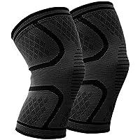 Mdsfe 1 Paar elastische Sportkniepolster aus Nylon Atmungsaktive Kniestützstrebe Laufen Fitness Wandern Radfahren Knieschützer Joelheiras - Schwarz, XL