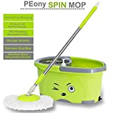 PEony Spin Bucket Double Drive Hand Pressure with 2 Micro Fiber Mop Head for Floor Cleaning with Soap Dispenser