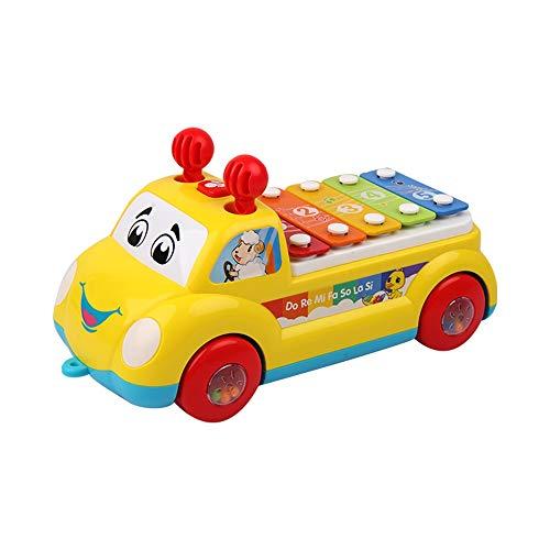 Markc Kinder Kleinkind Drag Toy Zugseil Hand Pull Auto 1-2-3 Jahre alt Manuelle Tastatur Percussion Musik Auto Kinder Abschleppen Traktion Pull Auto Übung Kinder Krabbeln Gehfähigkeit