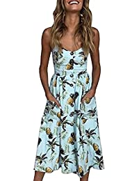 Minetom Vestito Donna Elegante Estate Boho Floreale Abito Sera Partito Mini  Dress Scollo V Manica Corta 21902ac2e9c