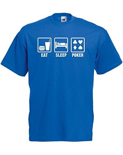 Eat Sleep Poker, Hommes T-shirt Imprimé - Bleu royal/Blanc S = 89-94 cm