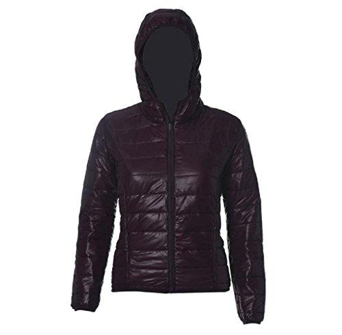 FEITONG Las mujeres del color del caramelo caliente del invierno Delgada Slim Down Abrigo capa de la chaqueta (S, Marrón)