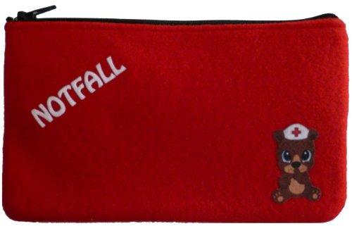 rote Notfall-Tasche für Medikamente und Pflaster mit Velours-Bild