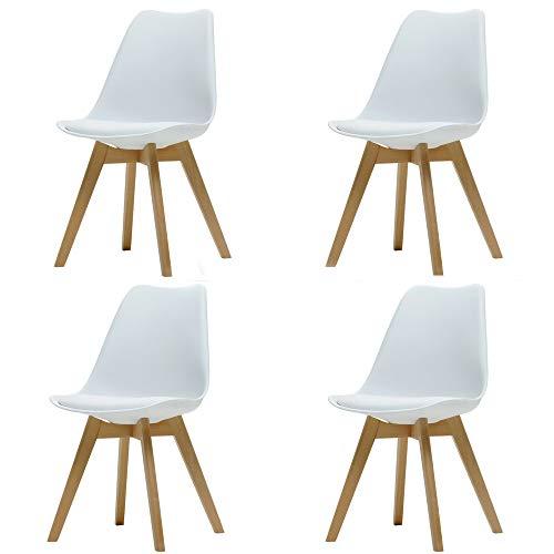 Naturelifestore 4er Set Moderner Tulpe Essensstuhl mit Gut Gepolsterte Kunstleder Kissen, Eiffel Esszimmerstuhl Kunststoff weiße - Kunststoff-stuhl Moderner