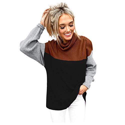 Toasye Frauen Herbst und Winter Mode Stehkragen Nähte Langarm-Bluse Turtleneck trendy Knitwear Top Fashion Shirts 2019 Comfy Sweatshirt Tunic Blouses (Halloween-tag 2019 Datum)
