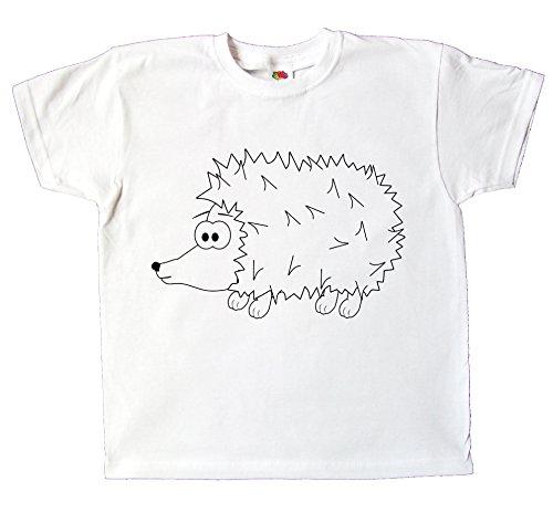 Kinder T-Shirt Igel zum bemalen und ausmalen mit Vordruck Spiel zum Kindergeburtstag Kindergarten für Jungen und Mädchen (104)