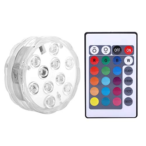 LED-Licht Qoolife RF-Fernbedienung Batteriebetriebene Pool Pond Wasserdichte Licht for Indoor- und Outdoor-Brunnen Wasserfall SPA Badewanne Vase Unterwasser Dekoration (Size : 10 packs)