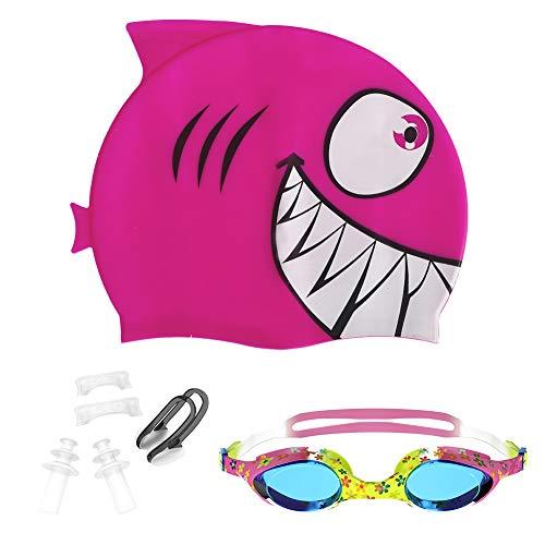 Mounchain Badekappe Schwimmbrille, Premium-Silikon-Badekappe & Anti Fog UV-Schutzbrille für Kinder