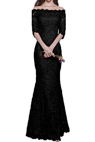 Ivydressing Damen Hochwertig U-Ausschnitt Halb Aermel Spitze Partykleid Promkleid Festkleid Abendkleid Schwarz
