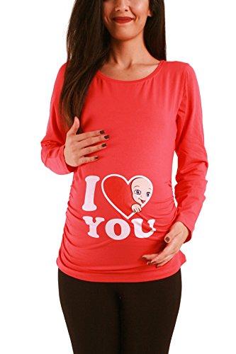 M.M.C. I Love You - Lustige Witzige Süße Umstandsmode/Sweatshirt Umstandsshirt mit Motiv für Die Schwangerschaft/Schwangerschaftsshirt, Langarm (Koralle, X-Large) (Rote Koralle Rau)