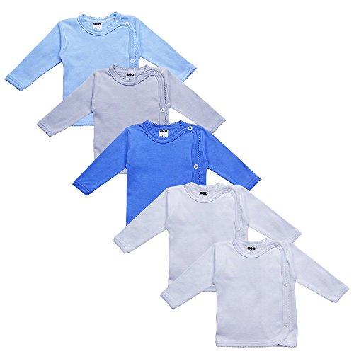MEA BABY MEA BABY Unisex Baby Wickelshirt Wickeljacke Langarm, 100% Baumwolle im 5er Pack. Wickelshirt für Mädchen, Wickelshirt für Junge (Jungen, 62)