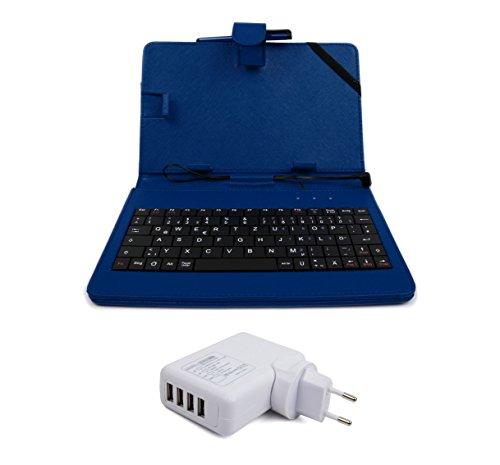 3 in 1: Deutsche QWERTZ-Tastatur mit blauer Tablethülle für das Odys Connect 7 Pro (7