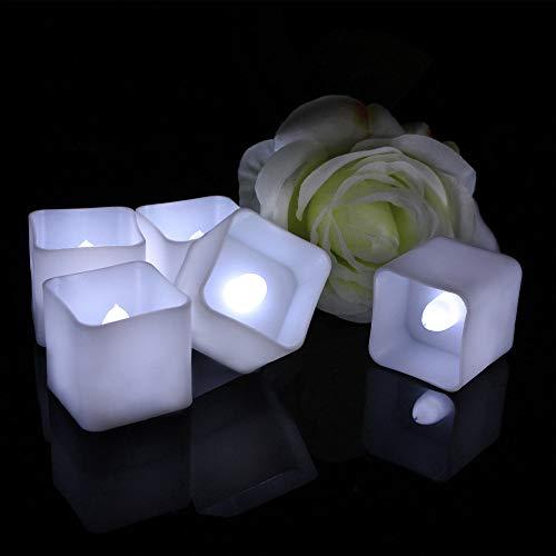 wangZJ Weihnachtsdekoration elektronisches Kerzenlicht/LED/warmes weißes Quadrat Tee Wachs/Kunststoff LED Kerzenlicht/Weiß kühlen weißen Blitz