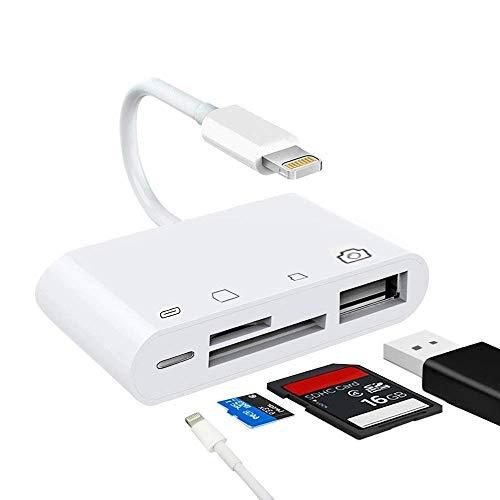 Gilsey 4in1 SD Adapter iOS 12 Kartenleser Card Reader für iPhone XS, XS Max, X, Xr, iPad Pro, iPhone 8, 8 Plus, 7, 7 Plus, 6, 6s, 5s, iPad Mini, iPad Air 2 Einfach Bilder und Fotos importieren