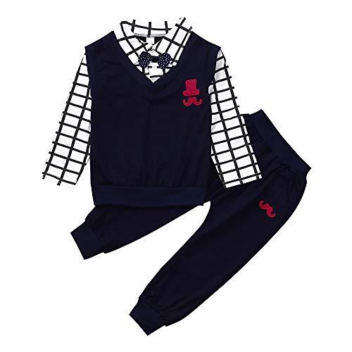 Kobay Kleinkind Baby Jungen Langarm Bowknot Gentleman Tops + Hosen Outfits Kleidung Sets(12-18M,Schwarz)