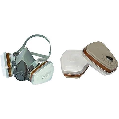 3M 6002C1 - Mascarilla respiradora reutilizable para pintura / químicos color gris + 6002CR - Pack de 2 mascarillas con filtros para respirador reutilizable color marrón y