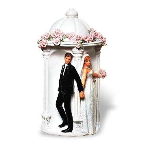 Preisvergleich Produktbild Spardose Hochzeitskasse Brautpaar im Pavillion Rosenpavillon Rosen 19 x 10 cm