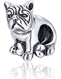 Globalwin cachorro perro Bulldog cuenta para pulsera–plata de ley 925para pandora, biagi, chamilia, troll pulsera