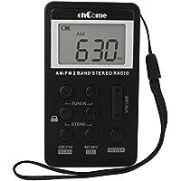 Vikdio Portable AM Radio FM Mini Receptor de bolsillo Receptor de sintonización digital con pantalla LCD Batería recargable y auricular por ohCome (Negro)