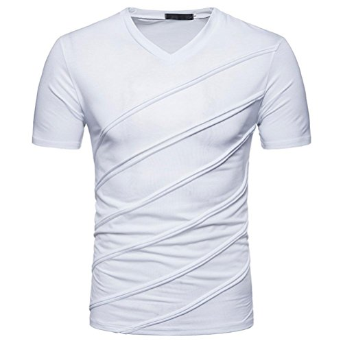 ASHOP Mode Persönlichkeit Männer Casual Schlank Solide Kurzarm T-Shirt Reisen Sweatshirt Tops Bluse (2XL, Weiß)