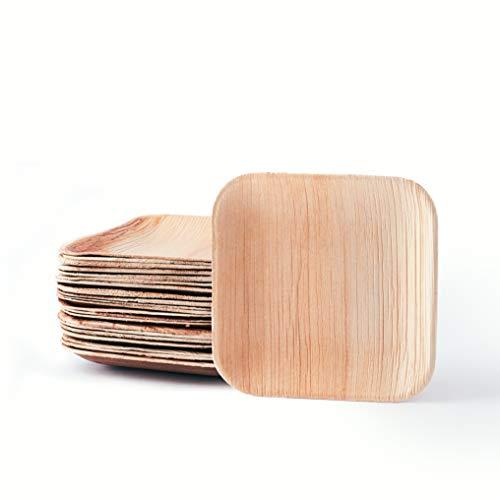 25 x Platos de madera | Vajillas desechables | 100% biodegradables | Casparo Eco Design (M (14cm)) (25, 15cm)