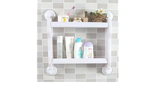 Home Wall-mounted Plastic Suction Cup Bathroom Storage Rack Shelf Kitchen Holder