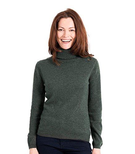 WoolOvers Figurbetonter Rollkragenpullover aus Merinowolle-Kaschmirwolle für Damen Tweed Green, XL (Green Wool Pullover)