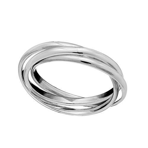 Silverly Frauen .925 Sterling Silber Dreiteilig Verdreifachen Band Verflochten Russisch Ring