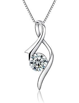 Auralum Damen-Halskette 925 Sterling Silber mit Schutzengel Anhänger 45cm Silberkette