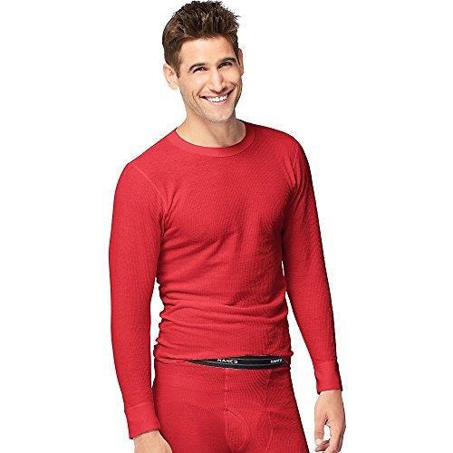 Hanes Herren X-Temp Baumwolle Langarm-Thermal Mannschaft Top, groß, Rot (Hanes Langarm-t-shirts Für Männer)